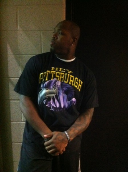 For example, the shirt that Ravens LB Terrell Suggs wore this week: